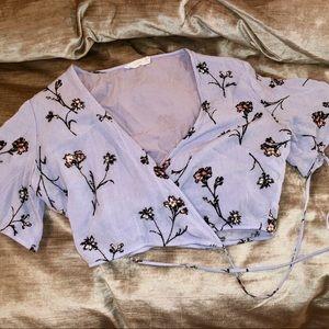 LUSH purple/lavender wrap crop top